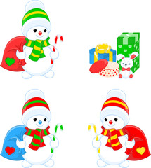 Three snowmen and gifts