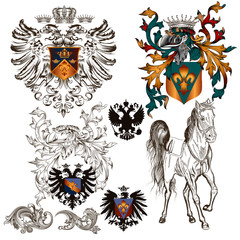 Set of vector heraldic elements