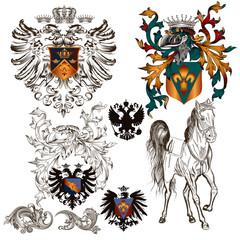 Set of vector heraldic elements
