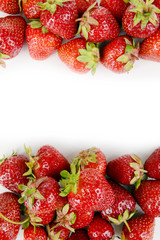 Ripe sweet strawberries on white background