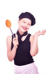 Teen girl posing with ladle