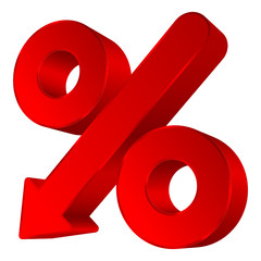 Percent Sign Arrow Down Red