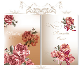 Wedding backgrounds set with roses
