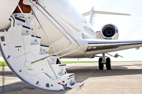 Stairs with jet engine on a private airplane - Bombardier - 67368267