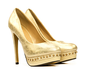 Elegant platform high heels shoes in gold