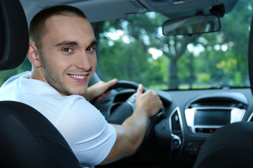 Man driving car