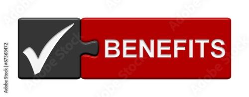 canvas print picture Puzzle-Button schwarz rot: Benefits
