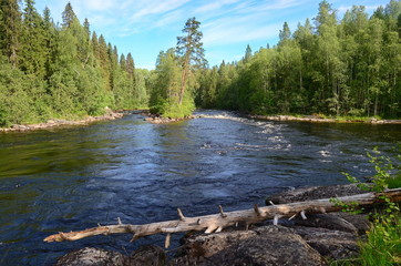 Lakes and rives of Karelia in summer, trip