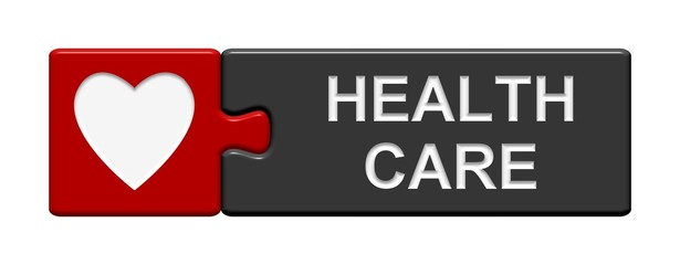 Puzzle-Button rot grau: Health Care