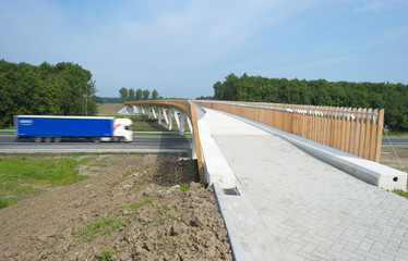 Just finished  bicycle bridge crossing a public highway