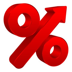 Red Percent Sign Arrow Up