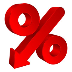 Red Percent Sign Arrow Down