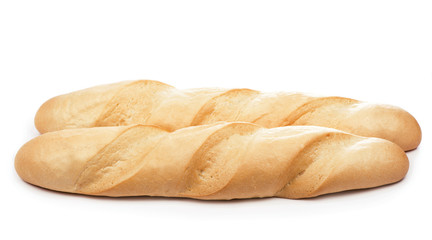 closeup of french baguette isolated on white.