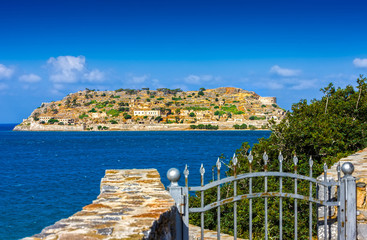 Spinalonga island at blue water of Crete, Greece