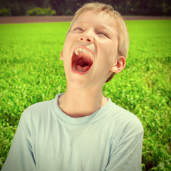 Kid screaming outdoor