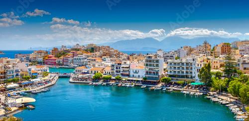 Plexiglas Stad aan het water Agios Nikolaos.
