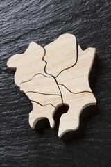 関東地方の木製地図