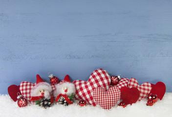 Weihnachten: Dekoration Hintergrund in blau, rot und weiß