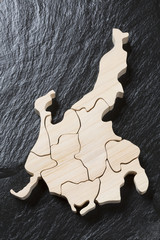 中部地方の木製地図