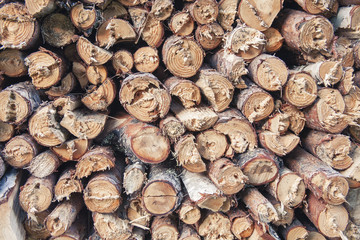 Stack of firefood logs close-up