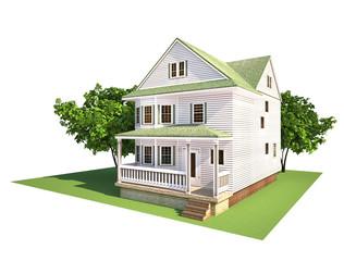 Белый загородный дом