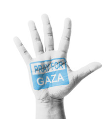 Open hand raised, Pray for Gaza sign painted
