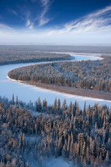 Forest river from frozen day