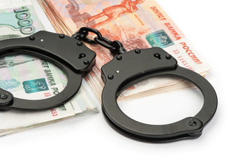 Handcuffs on Russian money