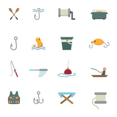 fishing and equipment for fishing icons vector eps10