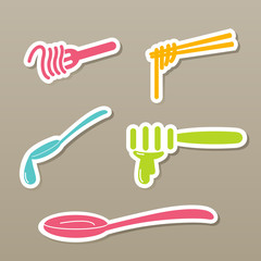 fork and spoon and chopsticks icons vector