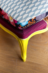 Patchwork cushion on a chair