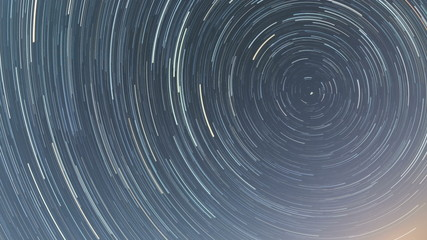Star trails build up around North 6 hour time lapse 4K