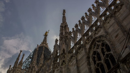 Duomo cathedral, architectural detail two time lapse shots