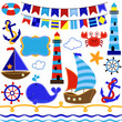 Vector Collection of Nautical and Sailing Themed Elements - 67372602