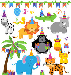 Vector Collection of Birthday Party Jungle Zoo Safari Animals