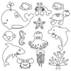 Vector Set of Cute Sea Creature Line Art