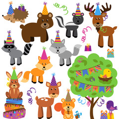 Vector Collection of Birthday Party Forest or Woodland Animals