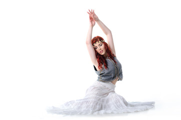 Young gipsy woman dancing