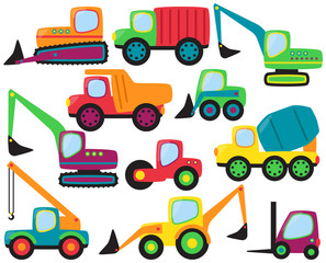 Vector Set of cute Construction Vehicles and Heavy Equipment