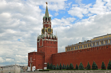 Moscow Kremlin's Spassky Tower and part of the wall