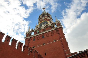 Bottom view of the Spassky Tower of Moscow Kremlin