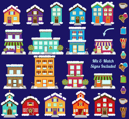 Collection of Vector Christmas or Winter City and Town Buildings