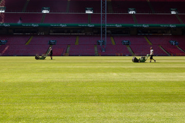 Greenkeepers at Parken national stadium