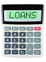 Calculator with Loans on display isolated on white background