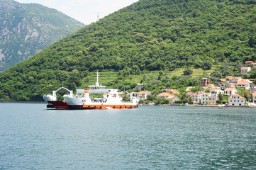Ferry between Kamenari and Lepetane on the bay of Kotor