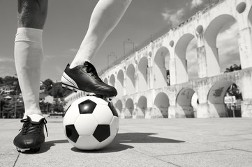 Brazilian Football Player Standing on Soccer Ball Lapa Rio