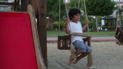 Happy young boy on swing