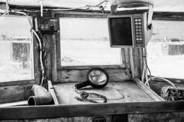 Interior of an old cockpit on a fishing boat