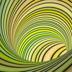 3d striped tunnel pipe in yellow green
