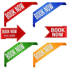 Book now promo ribbons